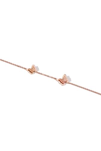 Kép 4/6 - A & ONE Pillangókkal díszített rozsdamentes acélból készült rózsaarany színű bokalánc