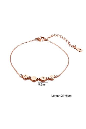 Kép 2/6 - A & ONE Love felirattal díszített rozsdamentes acélból készült rózsaarany színű bokalánc.