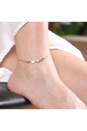 Kép 4/6 - A & ONE Love felirattal díszített rozsdamentes acélból készült rózsaarany színű bokalánc.