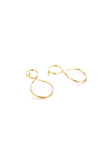 Kép 2/5 - A & ONE Aranyszínű Elegáns Rozsdamentes Acél Fülbevaló