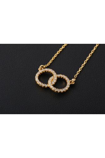 Kép 4/5 - Xuping Arany színű rozsdamentes ötvözetből készült nyaklánc kör strasszos medállal