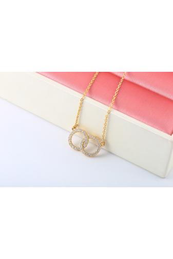 Kép 1/5 - Xuping Arany színű rozsdamentes ötvözetből készült nyaklánc kör strasszos medállal