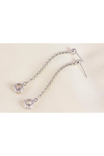 Kép 5/8 - Xuping Ezüst színű rozsdamentes acélből készült lógós strasszos fülbevaló