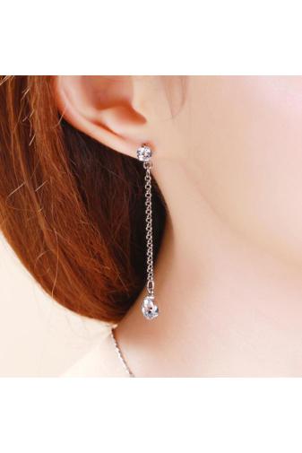 Kép 8/8 - Xuping Ezüst színű rozsdamentes acélből készült lógós strasszos fülbevaló