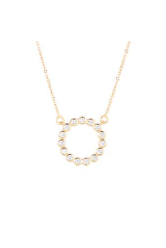 Kép 5/6 - Xuping Arany színű rozsdamentes ötvözetből készült strasszos nyaklánc kör alakú medállal