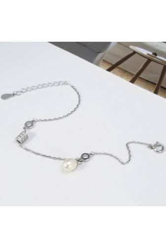 Kép 3/3 - A & ONE Fehér Gyöngy Gömbbel Díszített Ezüst Karkötő