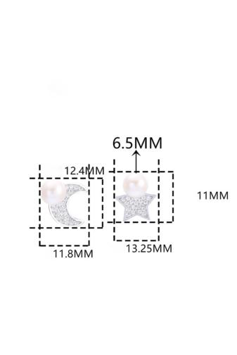 Kép 4/6 - A & ONE Gyöngyökkel és Strasszokkal Díszített Csillag És Hold Formájú Ezüst Fülbevaló
