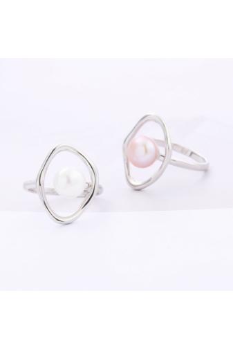 Kép 1/5 - A & ONE Világos Rózsaszín Gyönggyel Díszített Ezüst Gyűrű