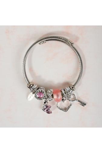 Kép 1/3 - A & ONE Rózsaszín Mintákkal Díszített Ezüst Színű Karperec