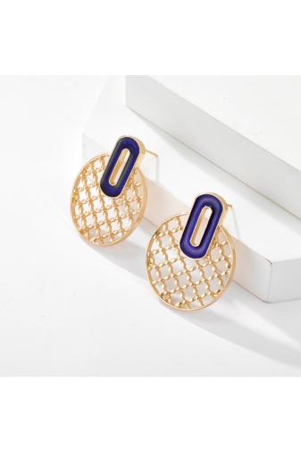 Kép 3/4 - A & ONE  Kerek hálós arany és kék színű bedugós fülbevaló
