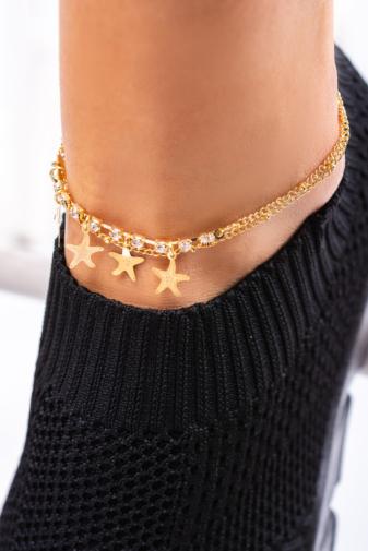 Kép 2/2 - A & ONE Arany Színű Csillag Mintákkal És Strasszkövekkel Díszített Bokalánc