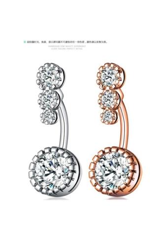 Kép 4/4 - A & ONE Elegáns ezüst színű 4 cirkónia kővel díszített köldök piercing