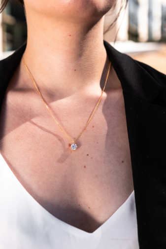 Kép 1/2 - Xuping 14K Aranyal bevont nyaklánc, köves medállal