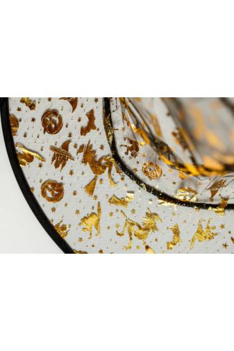 Kép 2/4 - Kifordítható Átlátszó Kalap Arany És Ezüst Színű Halloweeni Mintákkal