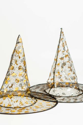 Kép 4/4 - Kifordítható Átlátszó Kalap Arany És Ezüst Színű Halloweeni Mintákkal