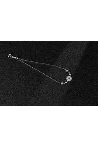 Kép 3/4 - A & ONE Strasszokkal És Csillag Medállal Díszített Ezüst Karkötő