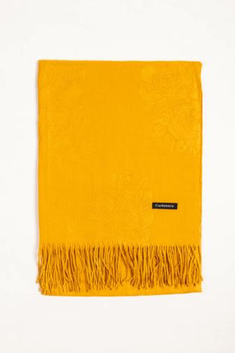 Kép 3/3 - A & ONE Mustár Sárga Színű Nyomott Mintás Kasmír Sál Rojtokkal