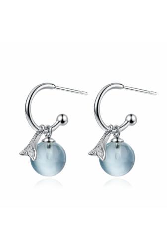 Kép 2/2 -  Moonstone Love: Átalakítható Ezüst Fülbevaló Kék Színű Üveggyönggyel És Ezüst Nyaklánc Holdkővel Szett