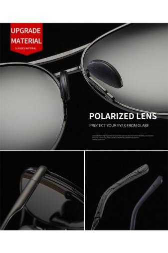 Kép 6/8 - A & ONE Polarizált Fekete Lencsés Fényes Ezüst Színű Kerettel Gumirozott Szárú Napszemüveg