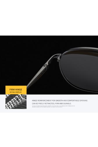 Kép 6/7 - A & ONE Polarizált Fekete Lencsés Fényes Arany Színű  Kerettel Gumirozott Szárú Napszemüveg
