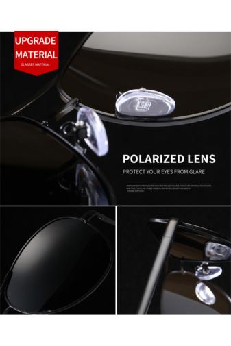 Kép 5/5 - A&ONE Polarizált Fekete Keretes Fekete Lencsés Pilóta Fazonú Napszemüveg