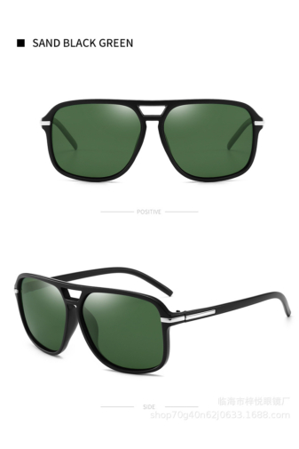 Kép 1/3 - A&ONE Matt Fekete Műanyag Keretes Zöld Lencsés Pilóta Fazonú Napszemüveg