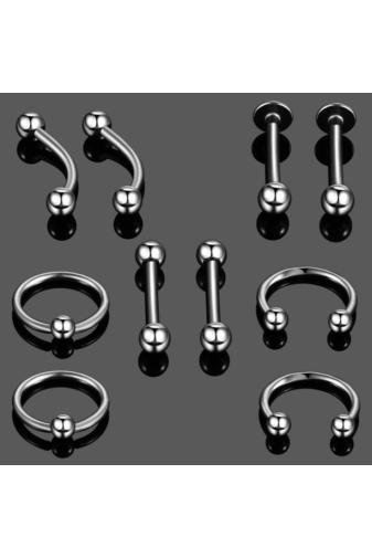 Kép 1/5 - A & ONE Ezüst Színű  10 Darabos Orvosi Acélból Készült Piercing Szett 6 mm