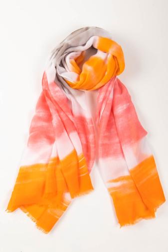 Kép 1/2 - Barack,Narancssárga, Szürke És Fehér Színű Textil Kendő