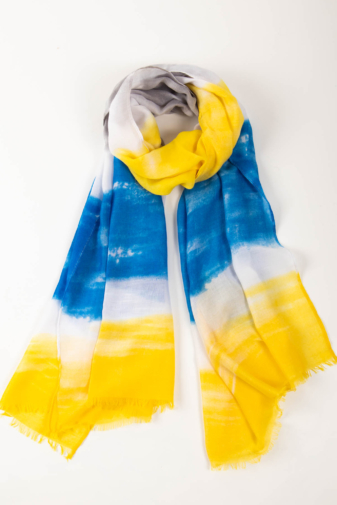 Kép 1/2 - Kék Fehér Sárga Színű Textil Kendő