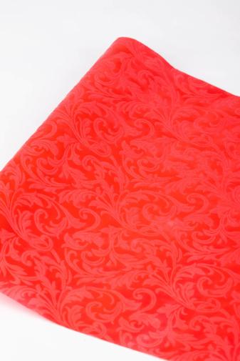 Kép 3/5 - A & ONE Piros Anyagában Virág Mintás Csomagoló Papír, 0,5 x 1 m