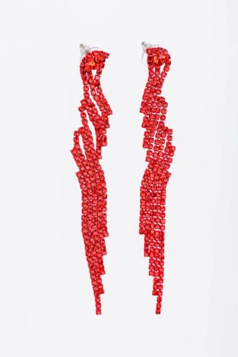 Kép 1/2 - A & ONE Piros Különleges Formájú Rozsdamentes Acél Cirkónia Kövekkel Díszített, Lógós Fülbevaló