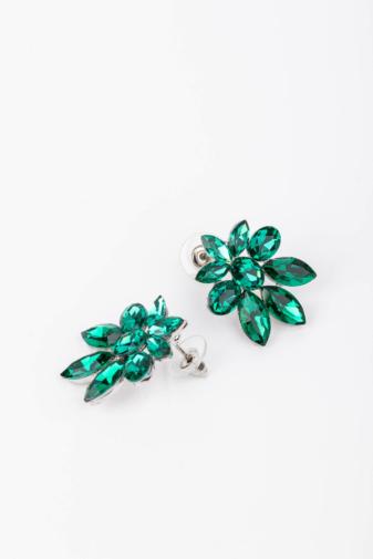 Kép 2/2 - A & ONE Zöld Gyémántszerű Cirkónia Kövekkel Díszített Fülbevaló