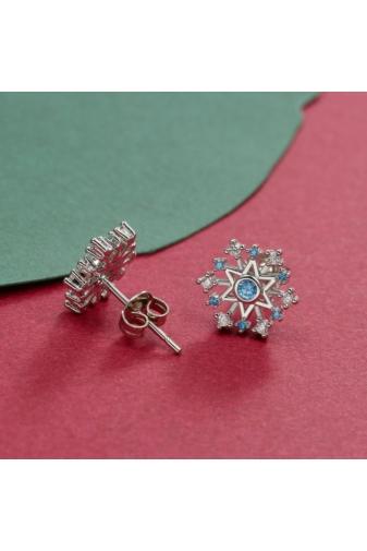 Kép 2/3 - A & ONE Ezüst Színű Aranyozott Réz Hópehely Formájú Fülbevaló, Pici Kék És Fehér Cirkónia Kövekkel