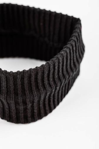 Kép 2/2 - A & ONE Fekete Vékony Kötésű Egyszerű Bordázott Fejpánt