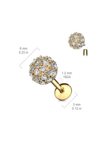 Kép 2/4 - A & ONE Ezüst Színű 14 Karátos Arannyal Bevont, Ródiumozott Orvosi Acél, Cirkónia Köves Piercing