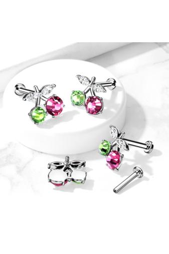 Kép 4/4 - A & ONE Ródiumozott, Ezüst Színű Orvosi Acél, Cseresznye Alakú Zöld És Rózsaszín Piercing