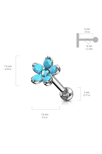 Kép 3/4 - A & ONE Ezüst Színű Ródiumozott Orvosi Acél, Lila Szintetikus Opál Köves Virág Alakú Piercing