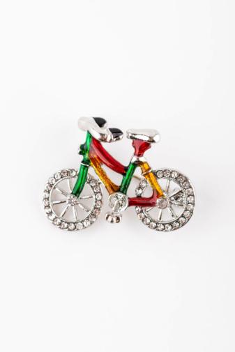 Kép 1/2 - A & ONE Ezüst Színű Színes Bicikli Bross Strasszkövekkel