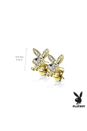 Kép 2/3 - Playboy Nyuszis Rózsaarany Színű, Cirkónia Köves, Ródiumozott Orvosi Acél Pici Fülbevaló