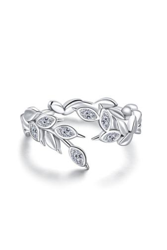 Kép 1/3 - A & ONE Állítható Aranyozott S925 Ezüst, Levél Alakú Gyűrű, Cirkónia Kövekkel