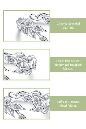 Kép 2/3 - A & ONE Állítható Aranyozott S925 Ezüst, Levél Alakú Gyűrű, Cirkónia Kövekkel