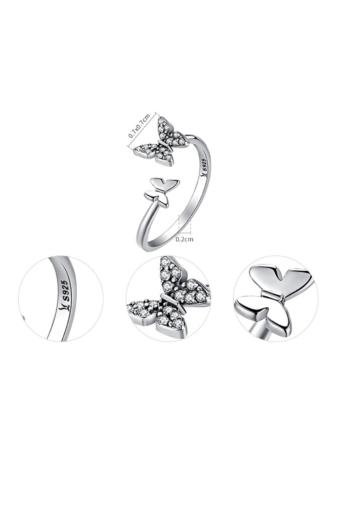 Kép 2/3 - A & ONE Állítható S925 Ezüst Gyűrű, Pillangó Formával És Cirkónia Kövekkel