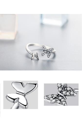 Kép 1/3 - A & ONE Állítható S925 Ezüst Gyűrű, Pillangó Formával És Cirkónia Kövekkel