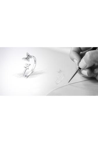 Kép 3/3 - A & ONE Állítható S925 Ezüst Gyűrű, Pillangó Formával És Cirkónia Kövekkel