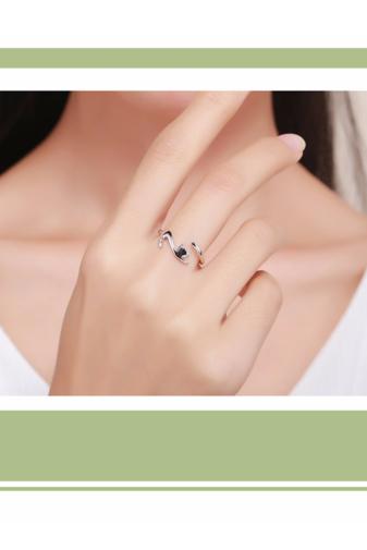 Kép 2/3 - A & ONE Állítható S925 Ezüst Gyűrű, Cica Formában
