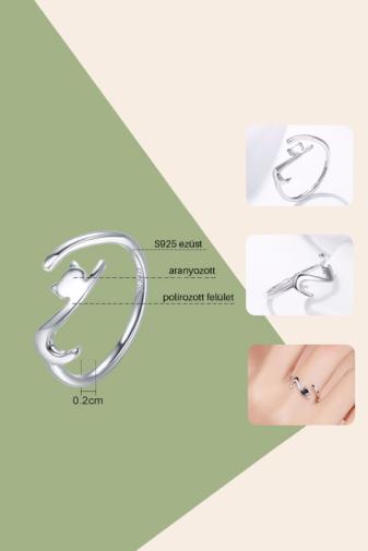 Kép 3/3 - A & ONE Állítható S925 Ezüst Gyűrű, Cica Formában