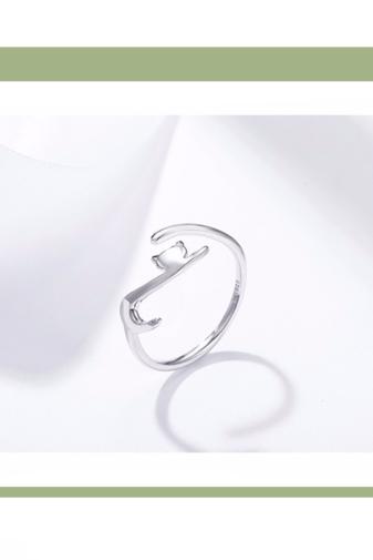 Kép 1/3 - A & ONE Állítható S925 Ezüst Gyűrű, Cica Formában