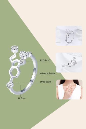 Kép 2/4 - A & ONE Állítható Aranyozott S925 Ezüst, Molekula Alakú Gyűrű, Cirkónia Kövekkel