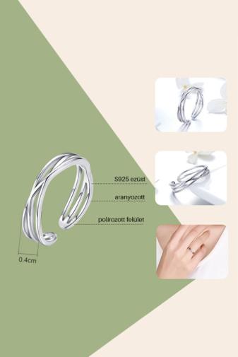 Kép 3/4 - A & ONE Állítható Aranyozott S925 Ezüst Gyűrű, Hullámos Formával