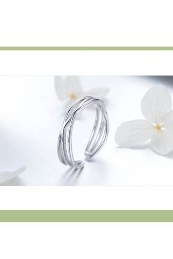 Kép 1/4 - A & ONE Állítható Aranyozott S925 Ezüst Gyűrű, Hullámos Formával